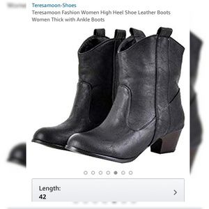 Teresamon Western Style Black High Heel Boot Sz 9